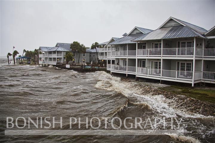 Big Waves come ashore behind the Island Place Condos in Cedar Key Florida as Tropical Storm Andrea hits - Photo by Pat Bonish
