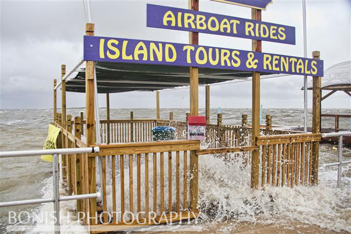 Brand New Dock getting pounded during Tropical Storm Andrea - Cedar Key Florida - Photo by Pat Bonish