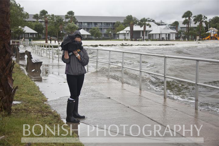 Channel 20 Camera Girl covering Tropical Storm Andrea in Cedar Key Florida - Photo by Pat Bonish