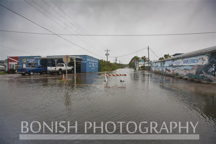 Downtown Cedar Key streets flooded during Tropical Storm Andrea - Photo by Pat Bonish