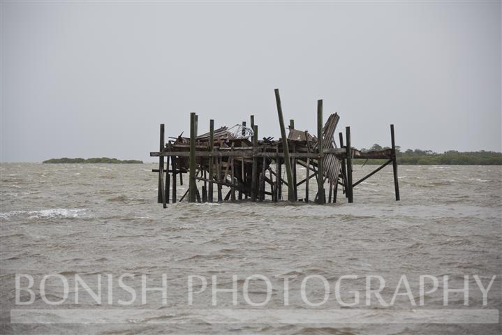 Early in the Day, the Honeymoon Shack finally gave in to Mother Nature - Tropical Storm Andrea hits Cedar Key Florida - Photo by Pat Bonish