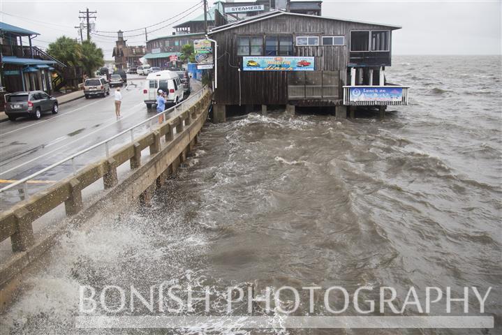 Looking East down Dock Street as Tropical Storm Andrea makes Landfall - Cedar Key Florida - Photo by Pat Bonish