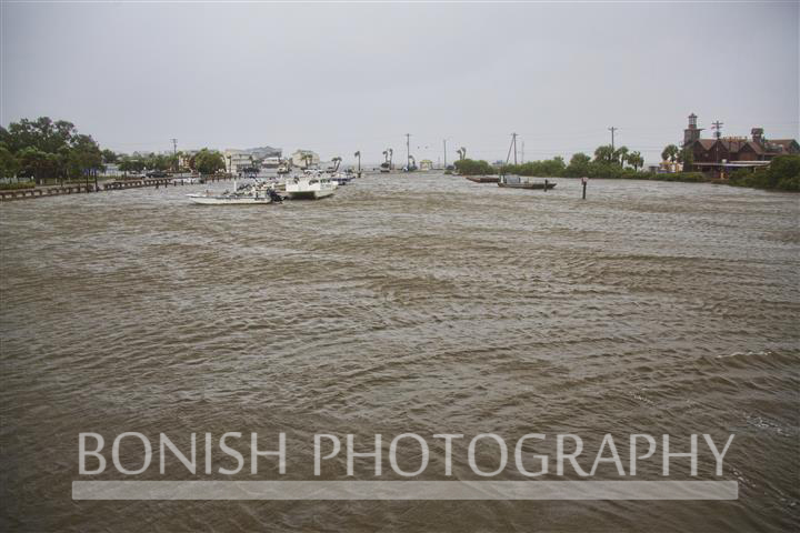 Looking East over the Cedar Key Marina as high winds keep lots of churned up water against the boat ramp - Tropical Storm Andrea - Photo by Pat Bonish