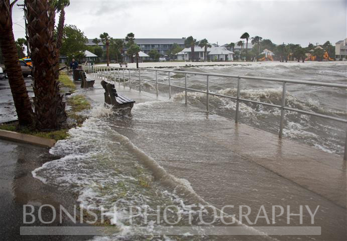 Rising Waters breaking over the seawall in Cedar Key Florida as Tropical Storm Andrea makes Landfall - Photo by Pat Bonish