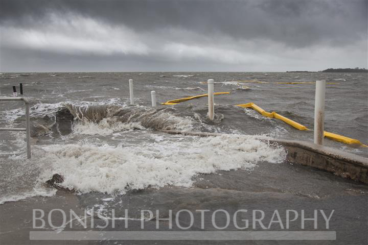 This is the Outside Boat Ramp with waves pounding ashore - Tropical Storm Andrea hits Cedar Key Florida - Photo by Pat Bonish