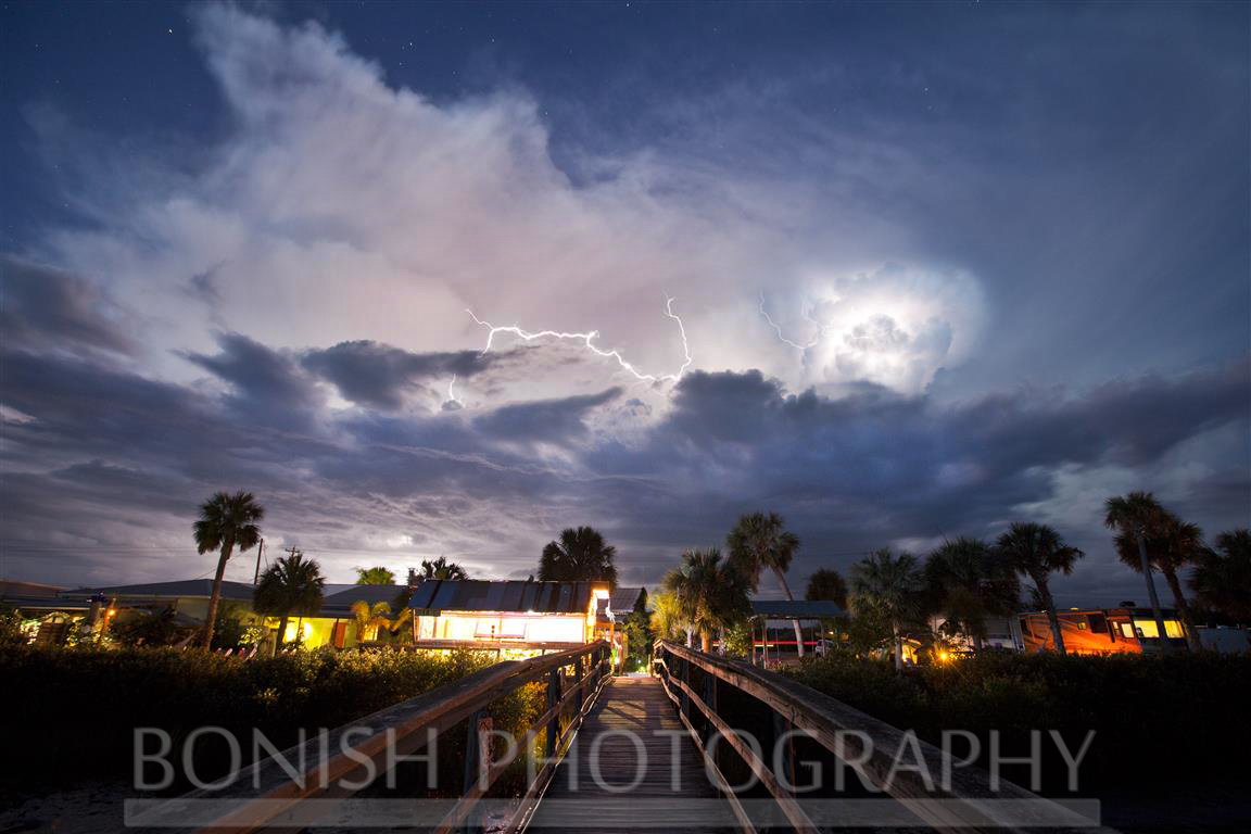 Lightning Storm over the Hideaway Tiki Bar