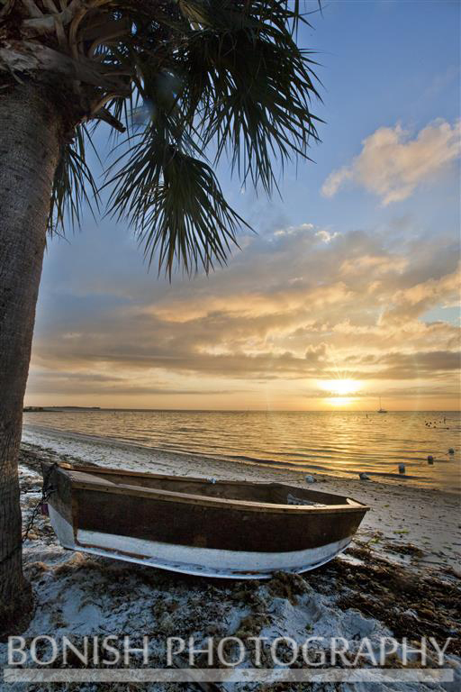 Sunrise, Cedar Key, Florida, Bonish Photography, Boat, Beach