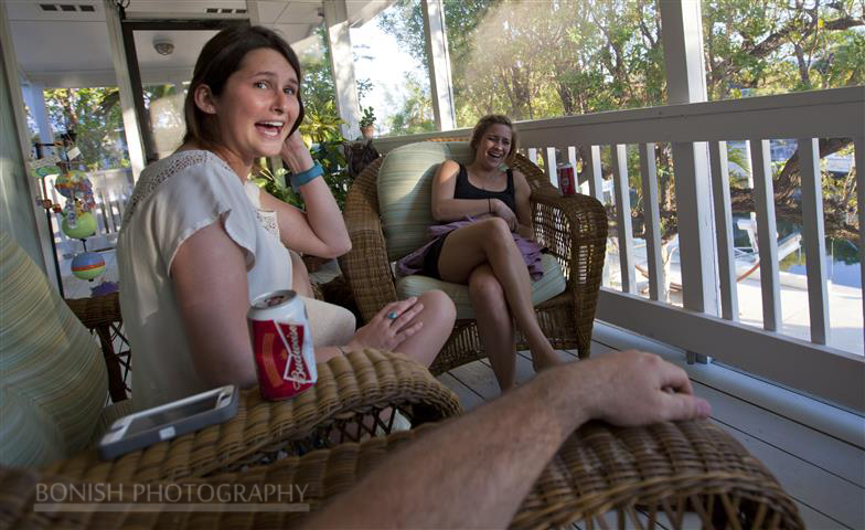 Laughing, Katie and Jessie on a boat, Bonish Photography