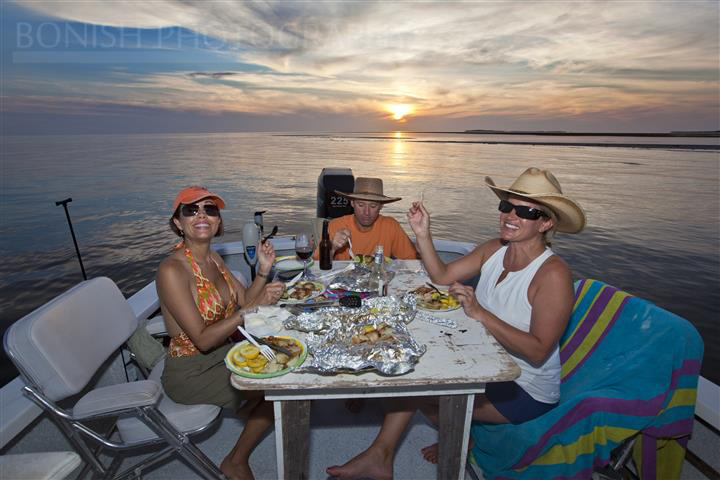 Boat Dinner, Cindy Bonish, Heath Davis, Sunset, Jolie Davis, Bonish Photography