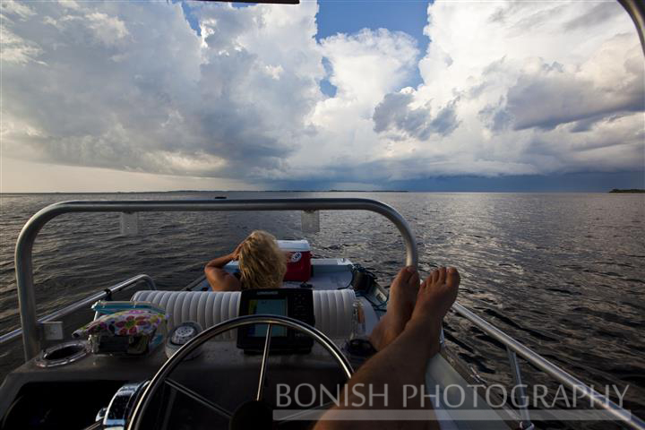 Boating in Bad Weather, Clouds, Storm Clouds, Gulf of Mexico, Cedar Key, Bonish Photography,