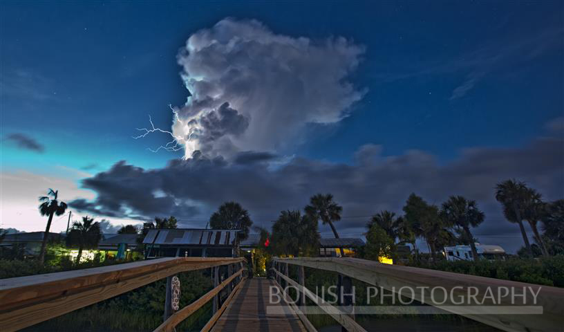 Lightning, Low-Key Hideaway, Storm Clouds, Cedar Key, Bonish Photography