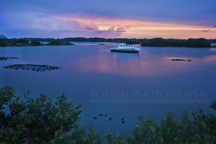 Sunset, Low-Key Hideaway, Cedar Key, Bonish Photography