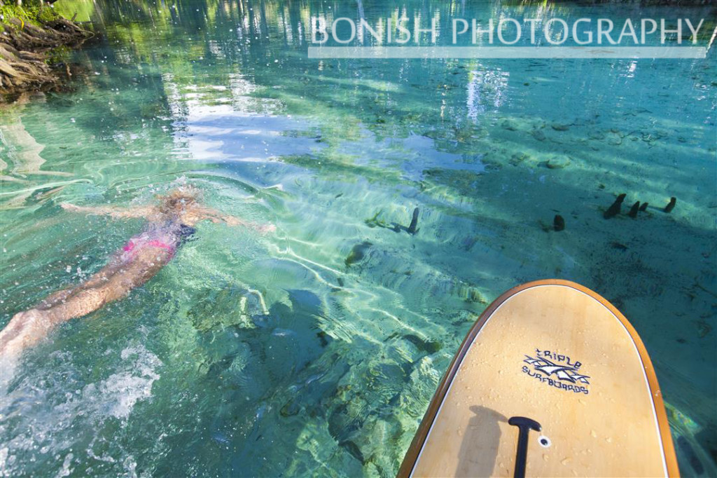 Swimming, SUP, Stand Up Paddle Boarding, Florida, Crystal River, Bonish Photography