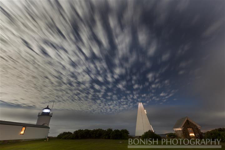 Night Time, Clouds, Goat Island, Light House, Bonish Photo