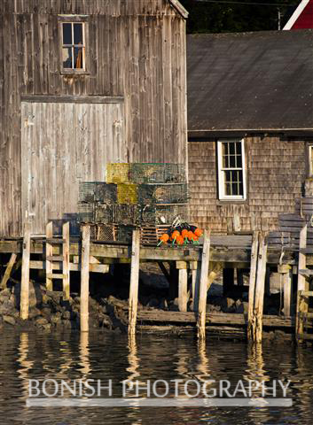 Fish House, Lobster Traps, Cape Porpoise Maine, harbor, Bonish Photo