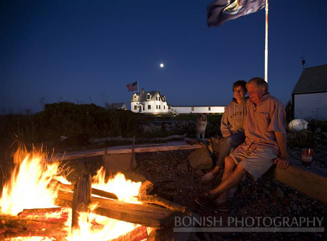 Maine, Goat Island, Bon Fire, Scott Dombrowski, Karen Dombrowski, Light House, Bonish Photo