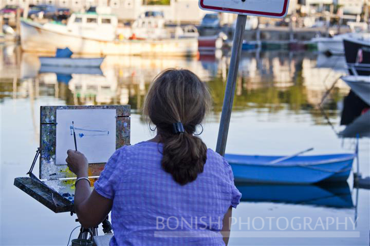 Painting, Easel, Rockport Harbor, Bonish Photo, Boats