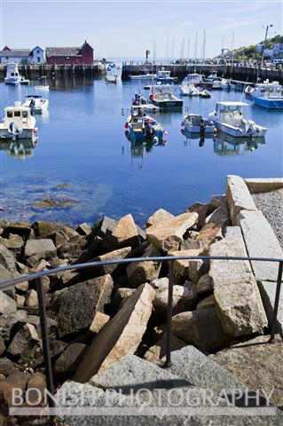 Rockport Harbor, Rocks, Shoreline, Boats, Massachusetts, Bonish Photo