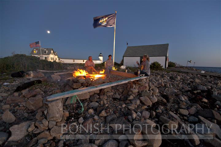 Bonfire, Goat Island Light House, Maine, Cape Porpoise, Bonish Photo