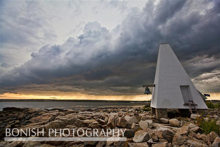 Cape Porpoise Harbor, Goat Island, Bell Tower, Storm, Clouds, Maine, Bonish Photo