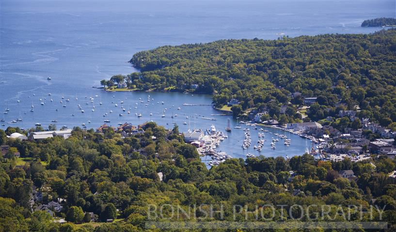 Camden Harbor, Mt. Battie, Maine, Sailing, Boats, Bonish Photo