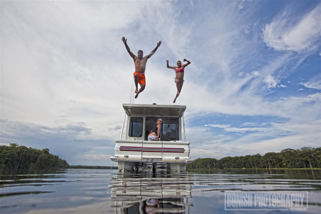 Houseboat, Swimming, Suwannee River, Bonish Photo, Catamaran Cruiser, Trailerable Houseboat