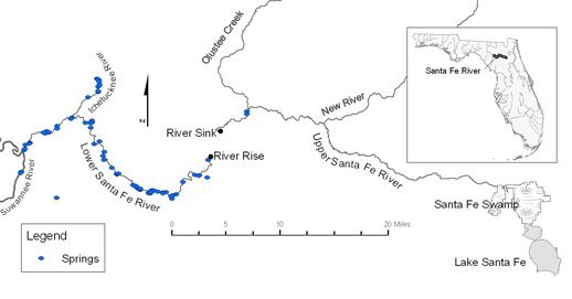 Santa Fe River Map, Florida, Every Miles A Memory, Paddling