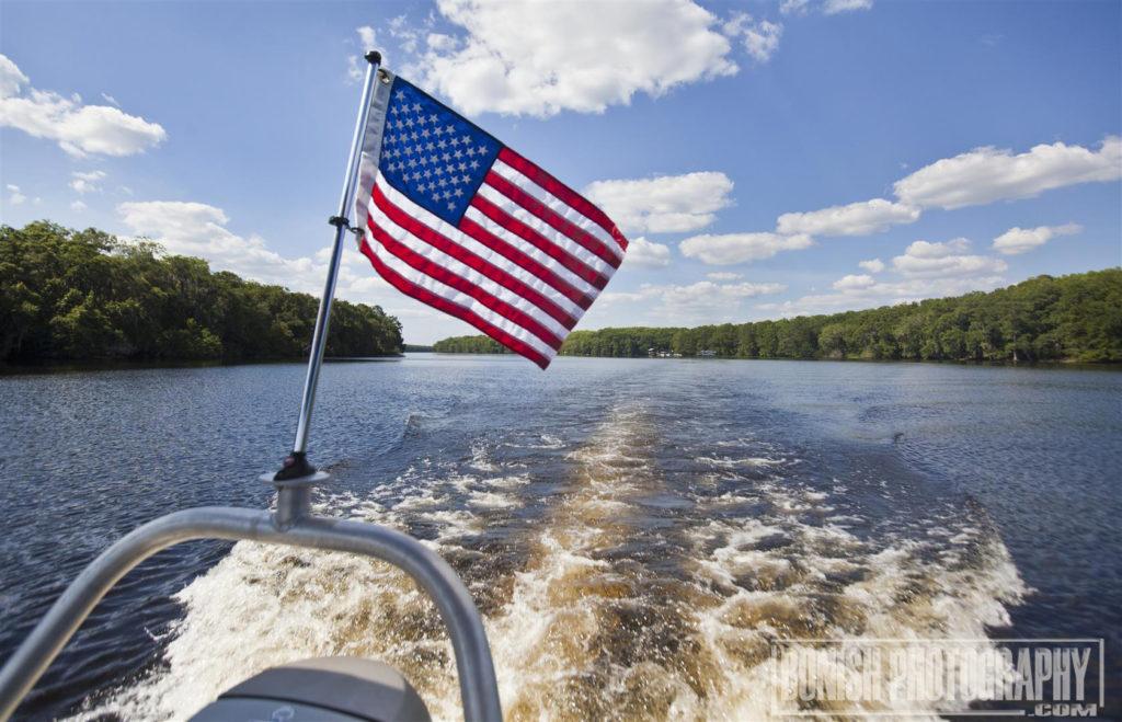 American Flag, Boating, Suwannee River, Bonish Photo